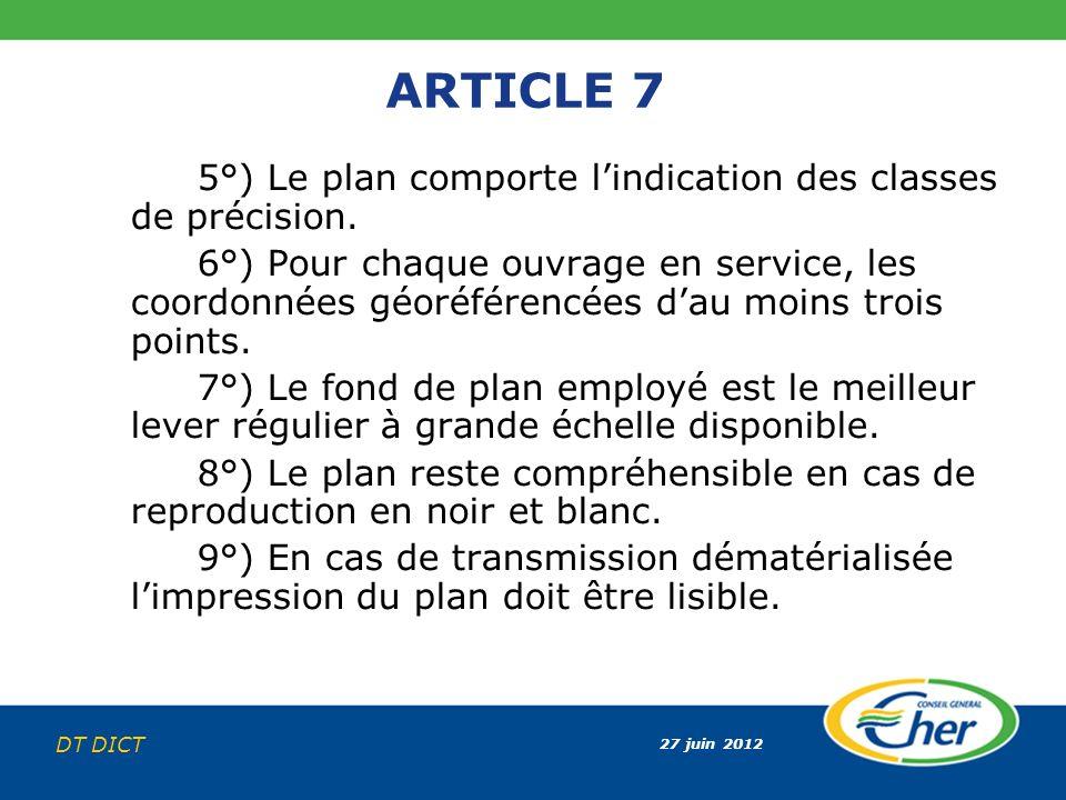 27 juin 2012 DT DICT ARTICLE 7 5°) Le plan comporte lindication des classes de précision. 6°) Pour chaque ouvrage en service, les coordonnées géoréfér