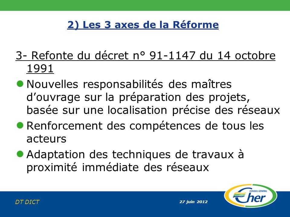 27 juin 2012 DT DICT 2) Les 3 axes de la Réforme 3- Refonte du décret n° 91-1147 du 14 octobre 1991 Nouvelles responsabilités des maîtres douvrage sur