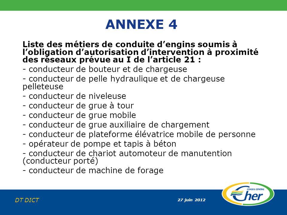 27 juin 2012 DT DICT ANNEXE 4 Liste des métiers de conduite dengins soumis à lobligation dautorisation dintervention à proximité des réseaux prévue au