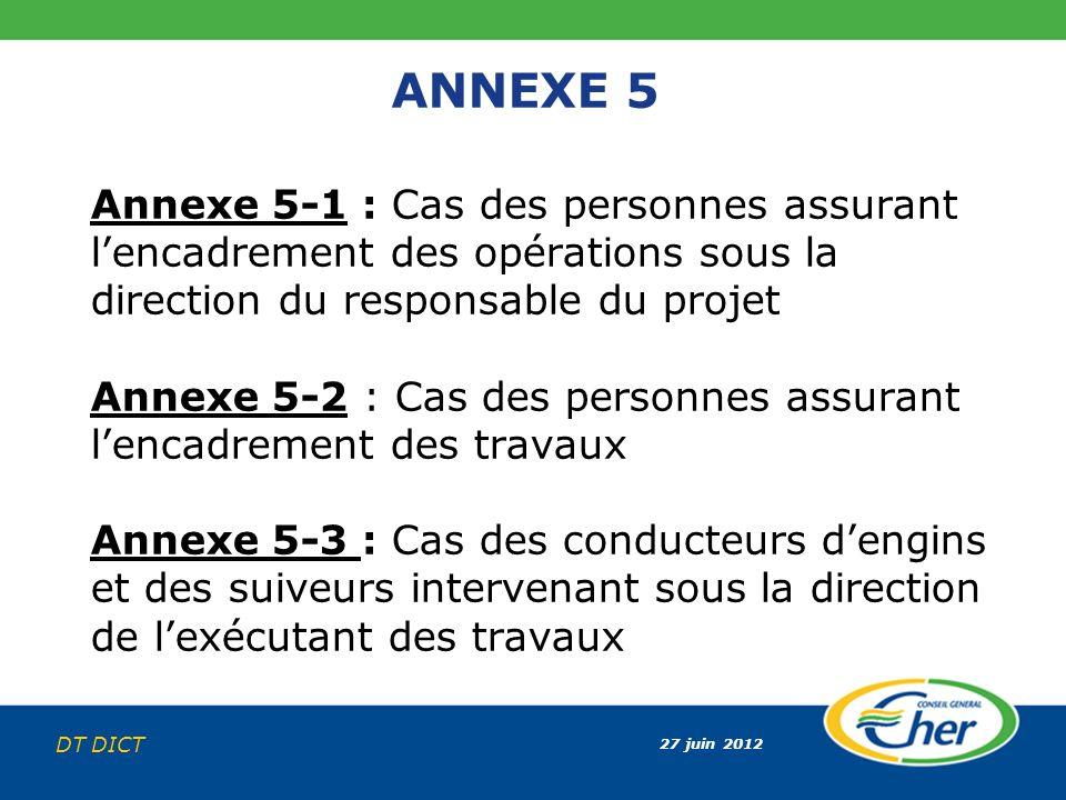 27 juin 2012 DT DICT ANNEXE 5 Annexe 5-1 : Cas des personnes assurant lencadrement des opérations sous la direction du responsable du projet Annexe 5-