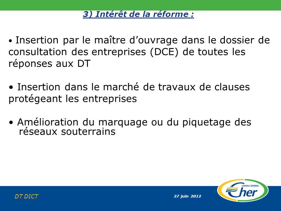 27 juin 2012 DT DICT 3) Intérêt de la réforme : Insertion par le maître douvrage dans le dossier de consultation des entreprises (DCE) de toutes les r