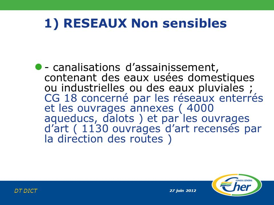 27 juin 2012 DT DICT 1) RESEAUX Non sensibles - canalisations dassainissement, contenant des eaux usées domestiques ou industrielles ou des eaux pluvi