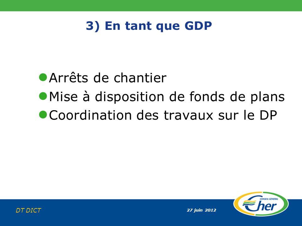 27 juin 2012 DT DICT 3) En tant que GDP Arrêts de chantier Mise à disposition de fonds de plans Coordination des travaux sur le DP