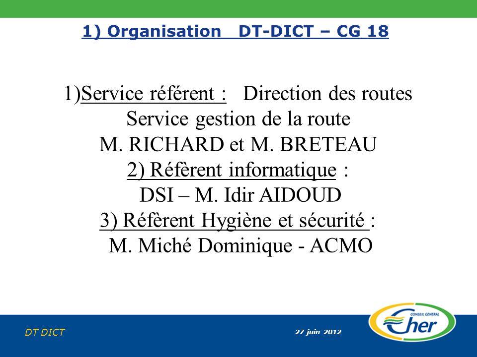 27 juin 2012 DT DICT 1) Organisation DT-DICT – CG 18 1)Service référent : Direction des routes Service gestion de la route M. RICHARD et M. BRETEAU 2)