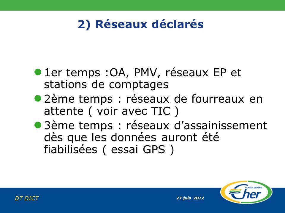 27 juin 2012 DT DICT 2) Réseaux déclarés 1er temps :OA, PMV, réseaux EP et stations de comptages 2ème temps : réseaux de fourreaux en attente ( voir a
