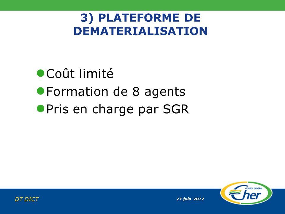 27 juin 2012 DT DICT 3) PLATEFORME DE DEMATERIALISATION Coût limité Formation de 8 agents Pris en charge par SGR