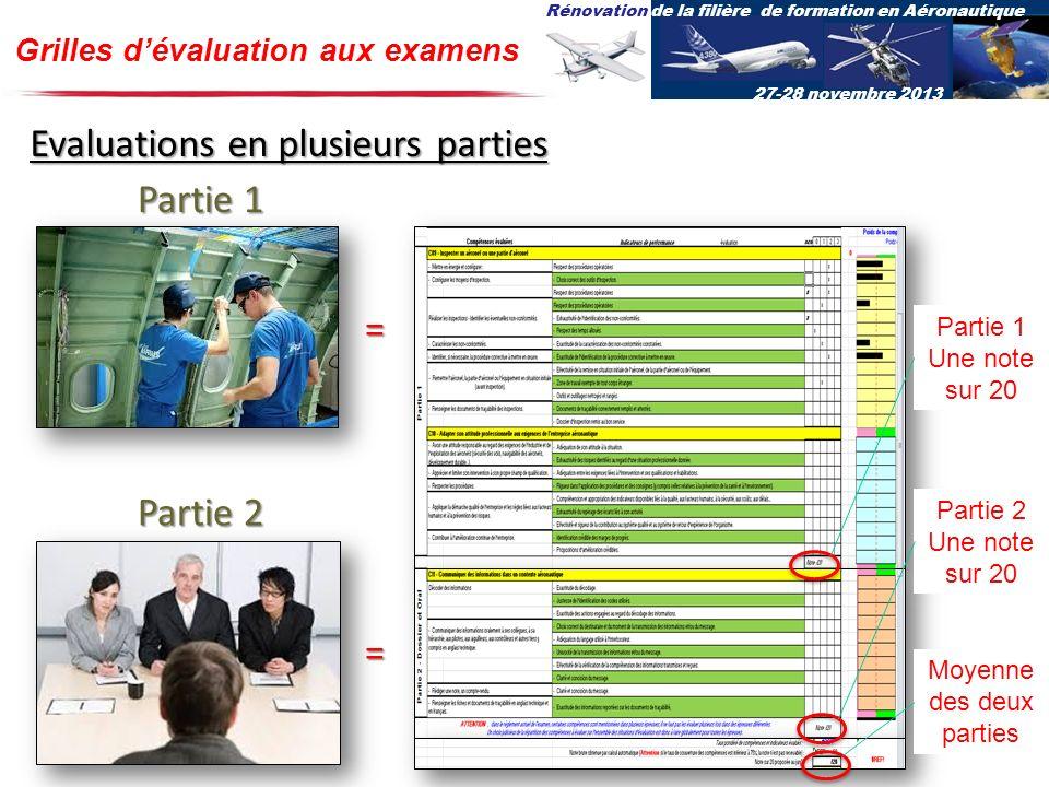 Rénovation de la filière de formation en Aéronautique 27-28 novembre 2013 Grilles dévaluation aux examens Evaluations en plusieurs parties Partie 1 =