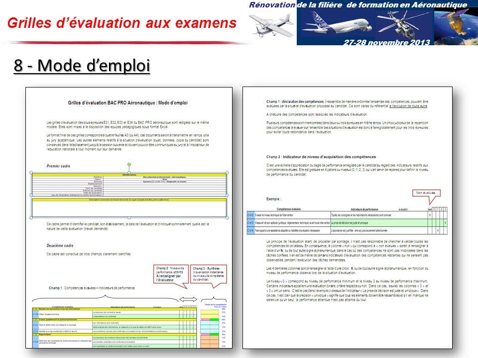 Rénovation de la filière de formation en Aéronautique 27-28 novembre 2013 Grilles dévaluation aux examens 8 - Mode demploi