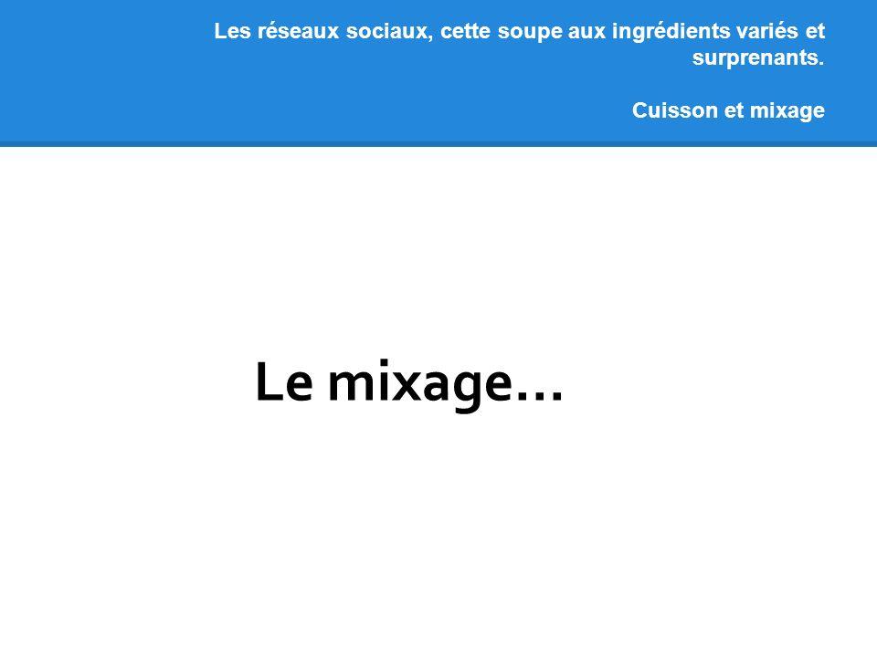 Les réseaux sociaux, cette soupe aux ingrédients variés et surprenants. Cuisson et mixage Le mixage...