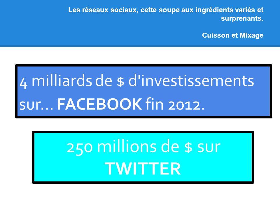 Les réseaux sociaux, cette soupe aux ingrédients variés et surprenants. Cuisson et Mixage 4 milliards de $ d'investissements sur... FACEBOOK fin 2012.