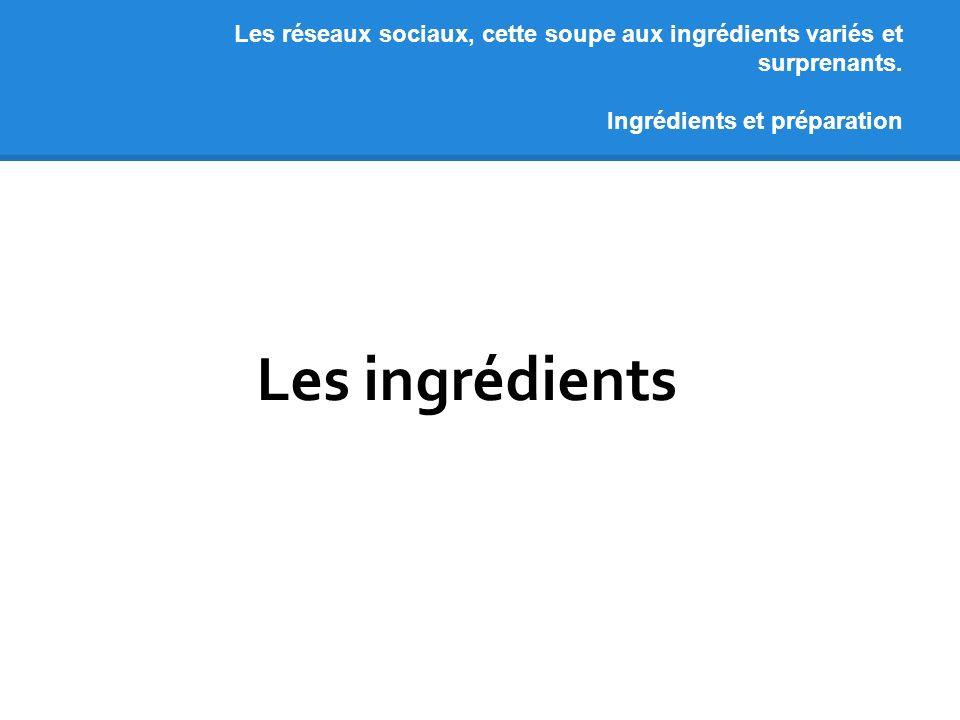 Les réseaux sociaux, cette soupe aux ingrédients variés et surprenants. Ingrédients et préparation Les ingrédients
