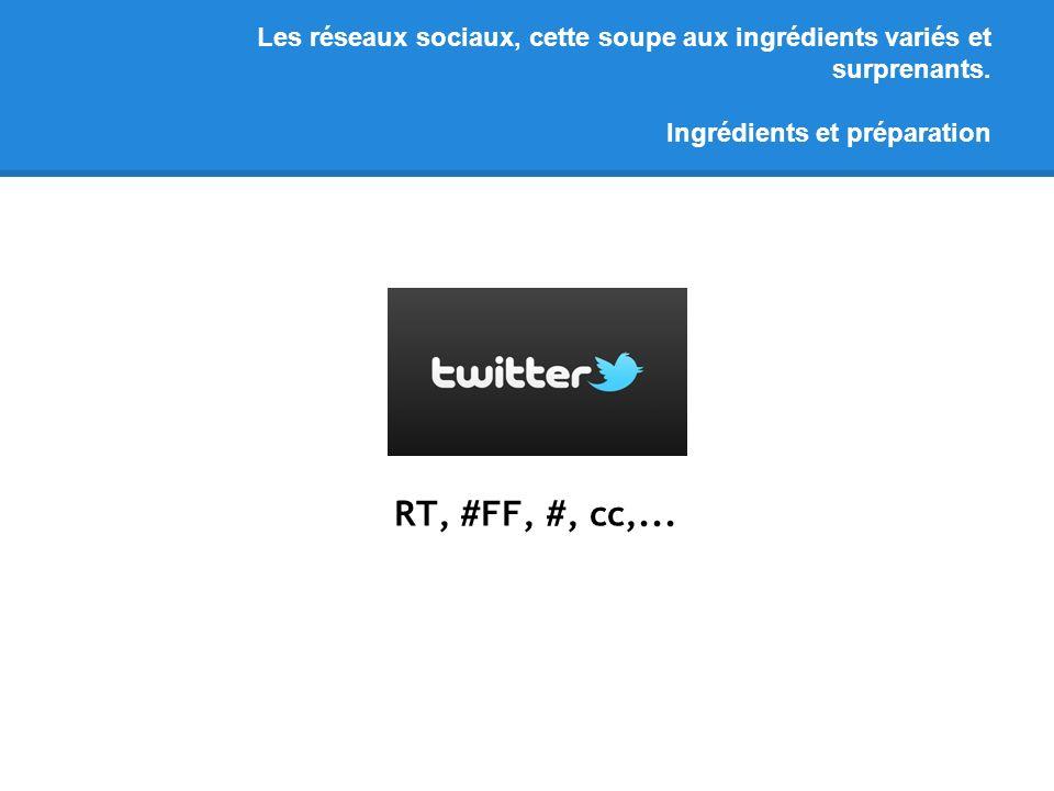 Les réseaux sociaux, cette soupe aux ingrédients variés et surprenants. Ingrédients et préparation RT, #FF, #, cc,...