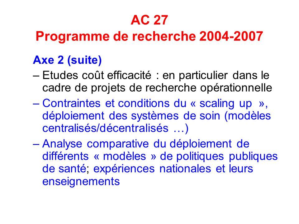AC 27 Programme de recherche 2004-2007 Axe 2 (suite) –Etudes coût efficacité : en particulier dans le cadre de projets de recherche opérationnelle –Contraintes et conditions du « scaling up », déploiement des systèmes de soin (modèles centralisés/décentralisés …) –Analyse comparative du déploiement de différents « modèles » de politiques publiques de santé; expériences nationales et leurs enseignements