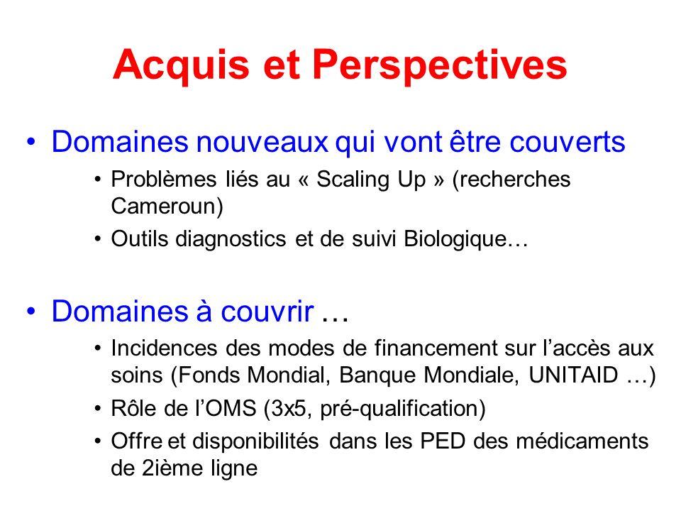 Acquis et Perspectives Domaines nouveaux qui vont être couverts Problèmes liés au « Scaling Up » (recherches Cameroun) Outils diagnostics et de suivi Biologique… Domaines à couvrir … Incidences des modes de financement sur laccès aux soins (Fonds Mondial, Banque Mondiale, UNITAID …) Rôle de lOMS (3x5, pré-qualification) Offre et disponibilités dans les PED des médicaments de 2ième ligne