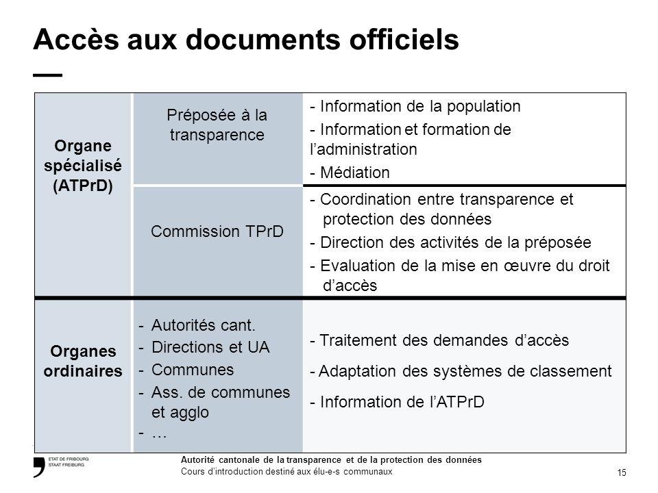 15 Autorité cantonale de la transparence et de la protection des données Cours dintroduction destiné aux élu-e-s communaux Accès aux documents officie