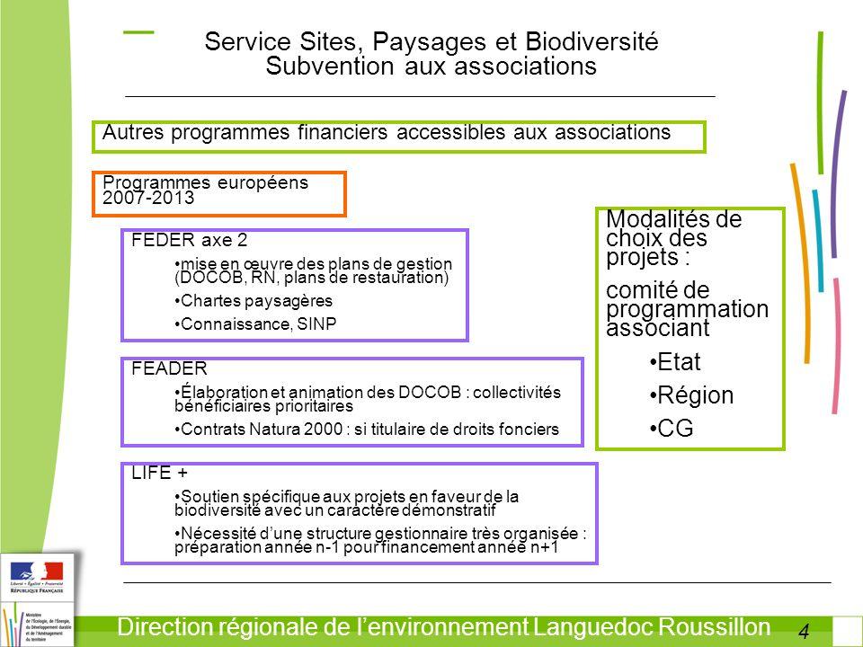 4 Direction régionale de lenvironnement Languedoc Roussillon Service Sites, Paysages et Biodiversité Subvention aux associations Autres programmes fin