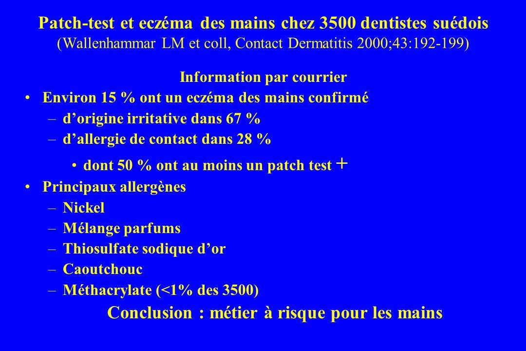 Patch-test et eczéma des mains chez 3500 dentistes suédois (Wallenhammar LM et coll, Contact Dermatitis 2000;43:192-199) Information par courrier Environ 15 % ont un eczéma des mains confirmé –dorigine irritative dans 67 % –dallergie de contact dans 28 % dont 50 % ont au moins un patch test + Principaux allergènes –Nickel –Mélange parfums –Thiosulfate sodique dor –Caoutchouc –Méthacrylate (<1% des 3500) Conclusion : métier à risque pour les mains