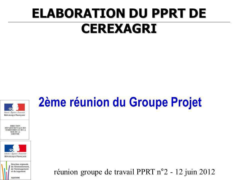 réunion groupe de travail PPRT n°2 - 12 juin 2012 ELABORATION DU PPRT DE CEREXAGRI 2ème réunion du Groupe Projet