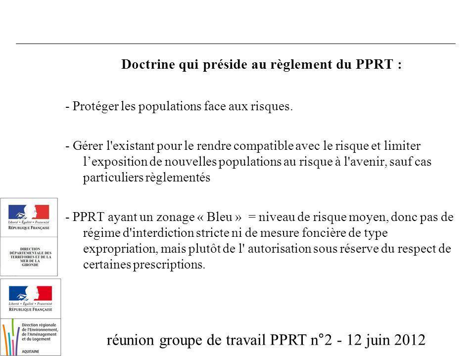 réunion groupe de travail PPRT n°2 - 12 juin 2012 Doctrine qui préside au règlement du PPRT : - Protéger les populations face aux risques. - Gérer l'e