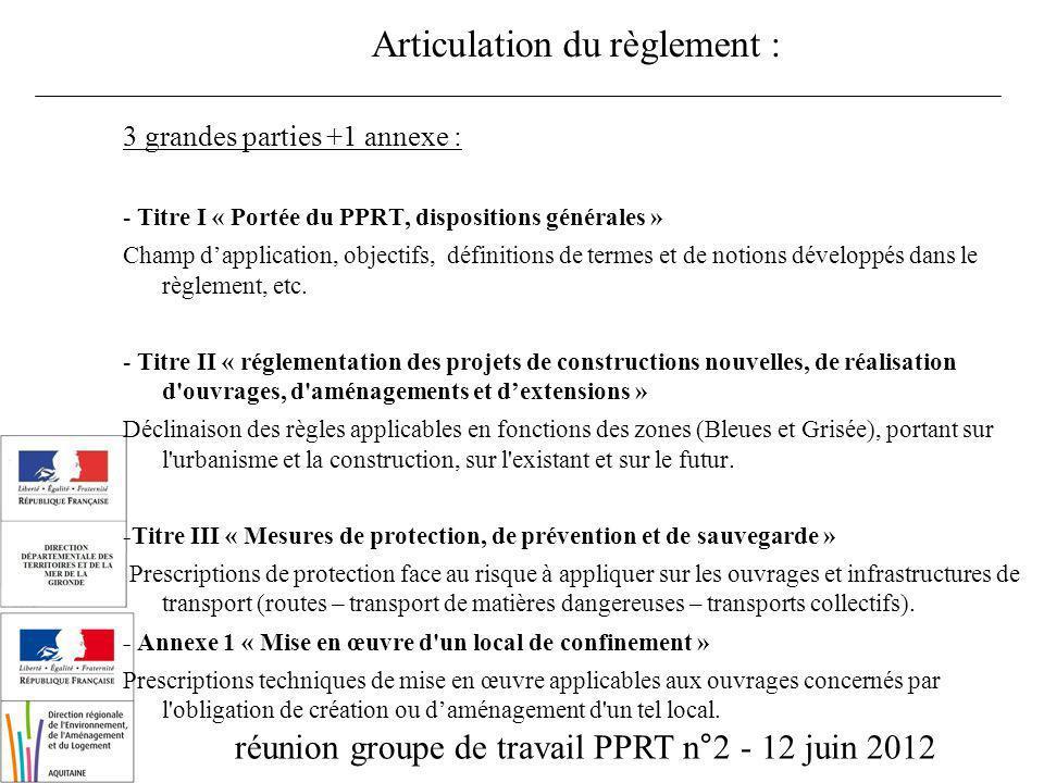 réunion groupe de travail PPRT n°2 - 12 juin 2012 Articulation du règlement : 3 grandes parties +1 annexe : - Titre I « Portée du PPRT, dispositions g