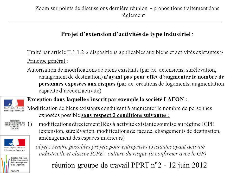 réunion groupe de travail PPRT n°2 - 12 juin 2012 Zoom sur points de discussions dernière réunion - propositions traitement dans règlement Projet dext