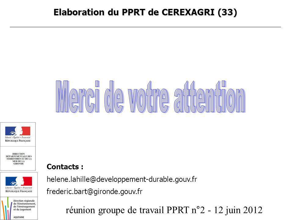 réunion groupe de travail PPRT n°2 - 12 juin 2012 Elaboration du PPRT de CEREXAGRI (33) Contacts : helene.lahille@developpement-durable.gouv.fr freder