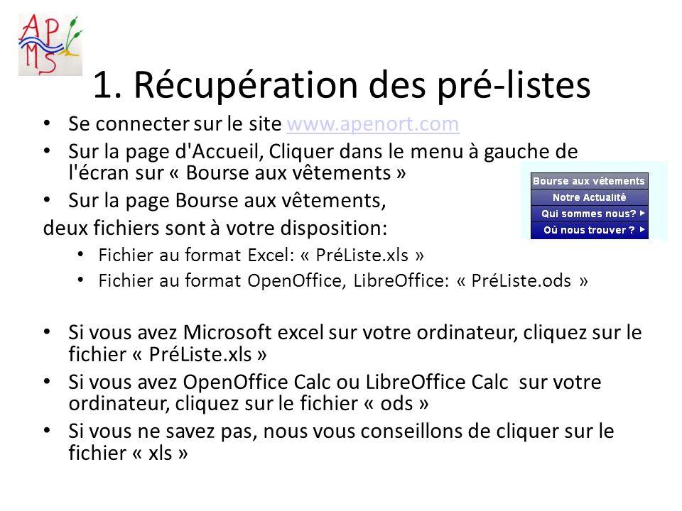 1. Récupération des pré-listes Se connecter sur le site www.apenort.comwww.apenort.com Sur la page d'Accueil, Cliquer dans le menu à gauche de l'écran
