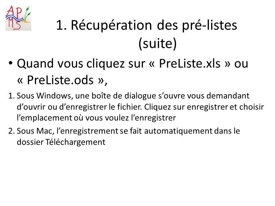 1. Récupération des pré-listes (suite) Quand vous cliquez sur « PreListe.xls » ou « PreListe.ods », 1.Sous Windows, une boîte de dialogue souvre vous