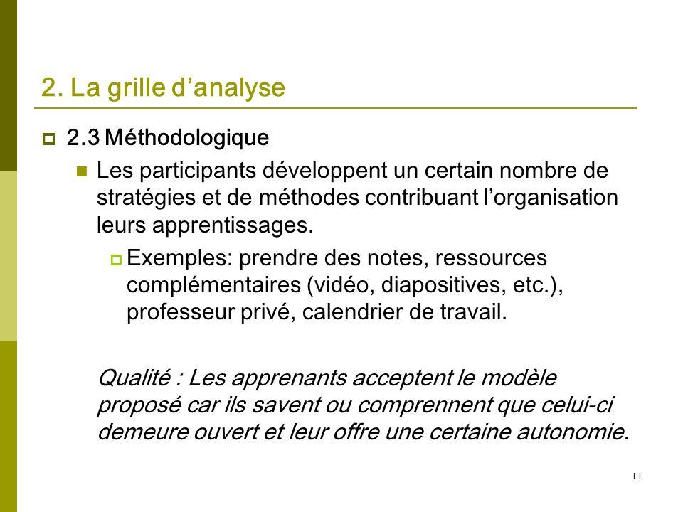 11 2. La grille danalyse 2.3 Méthodologique Les participants développent un certain nombre de stratégies et de méthodes contribuant lorganisation leur