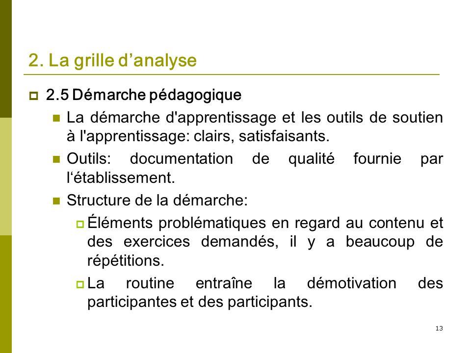 13 2. La grille danalyse 2.5 Démarche pédagogique La démarche d'apprentissage et les outils de soutien à l'apprentissage: clairs, satisfaisants. Outil