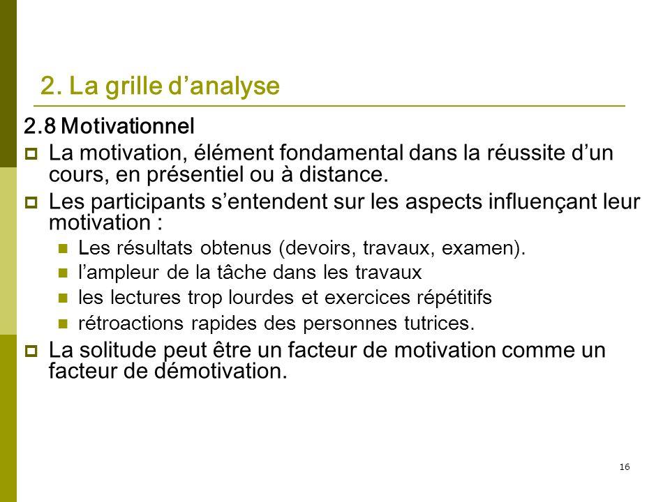 16 2. La grille danalyse 2.8 Motivationnel La motivation, élément fondamental dans la réussite dun cours, en présentiel ou à distance. Les participant