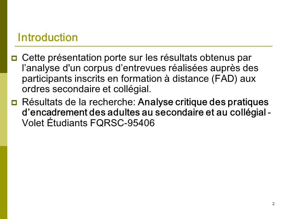 2 Introduction Cette présentation porte sur les résultats obtenus par lanalyse d'un corpus dentrevues réalisées auprès des participants inscrits en fo