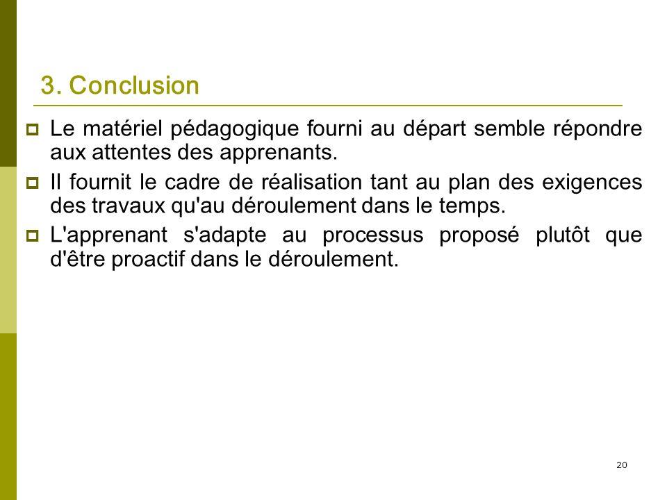 20 3. Conclusion Le matériel pédagogique fourni au départ semble répondre aux attentes des apprenants. Il fournit le cadre de réalisation tant au plan
