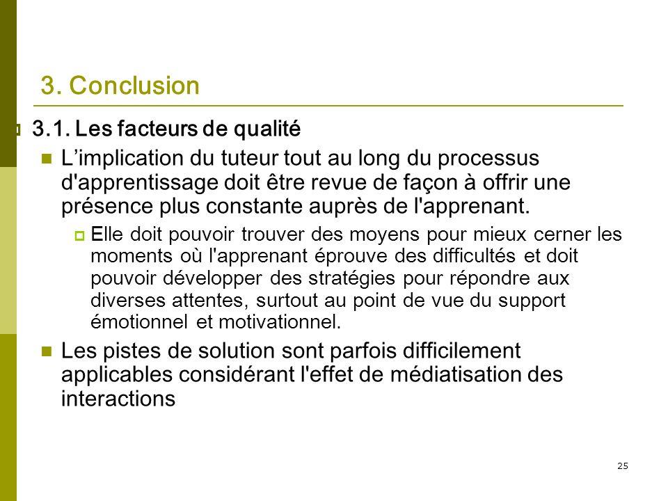 25 3. Conclusion 3.1. Les facteurs de qualité Limplication du tuteur tout au long du processus d'apprentissage doit être revue de façon à offrir une p