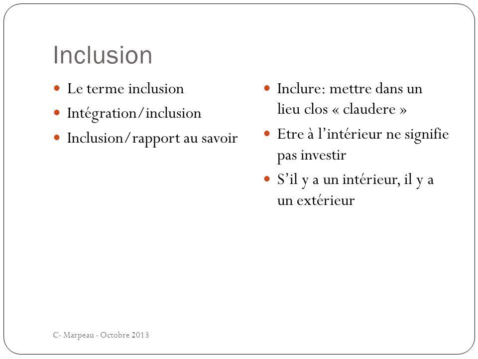 Inclusion C- Marpeau - Octobre 2013 Le terme inclusion Intégration/inclusion Inclusion/rapport au savoir Inclure: mettre dans un lieu clos « claudere » Etre à lintérieur ne signifie pas investir Sil y a un intérieur, il y a un extérieur