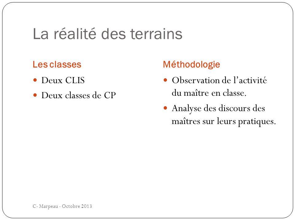 La réalité des terrains Les classesMéthodologie C- Marpeau - Octobre 2013 Deux CLIS Deux classes de CP Observation de lactivité du maître en classe.