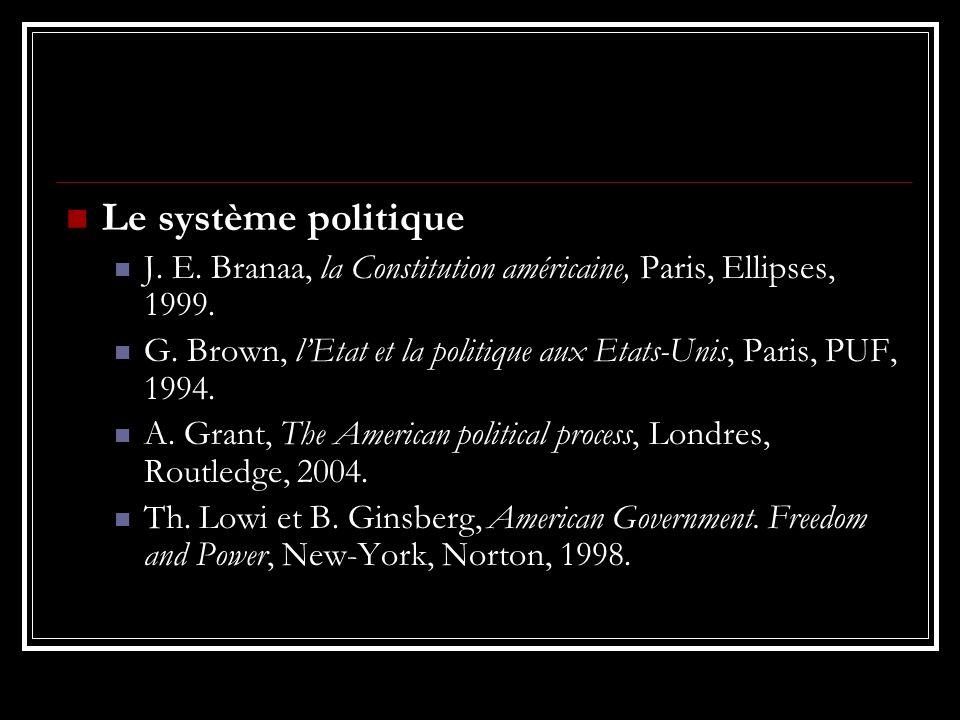 Le système politique J. E. Branaa, la Constitution américaine, Paris, Ellipses, 1999. G. Brown, lEtat et la politique aux Etats-Unis, Paris, PUF, 1994