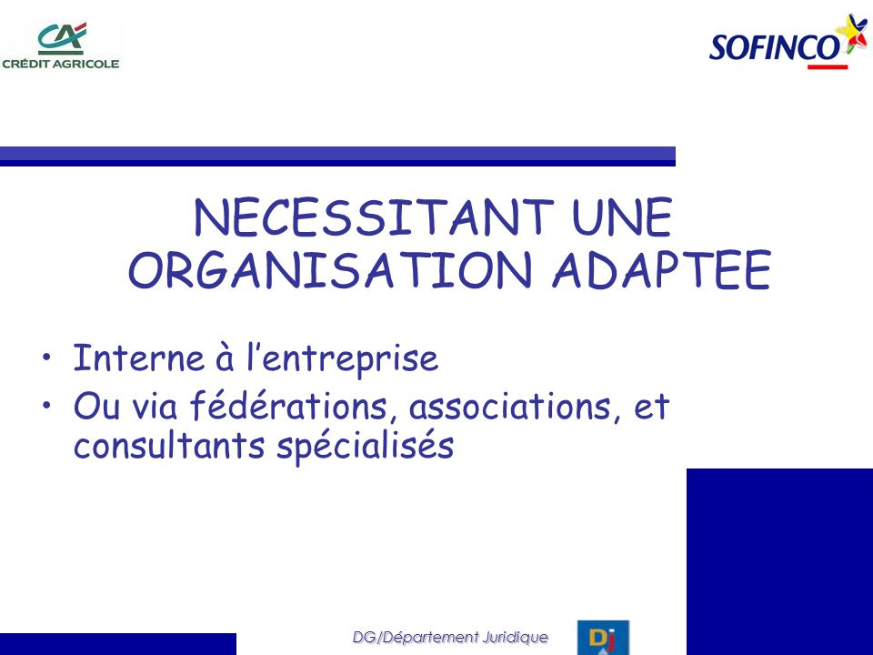 DG/Département Juridique NECESSITANT UNE ORGANISATION ADAPTEE Interne à lentreprise Ou via fédérations, associations, et consultants spécialisés DG/Dé