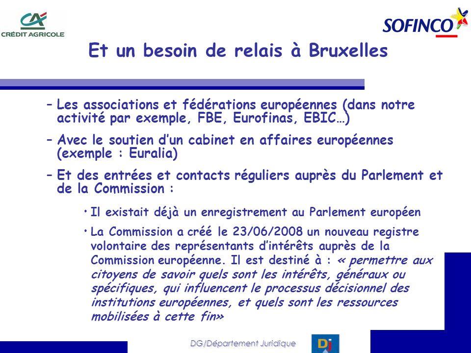 DG/Département Juridique Et un besoin de relais à Bruxelles –Les associations et fédérations européennes (dans notre activité par exemple, FBE, Eurofi