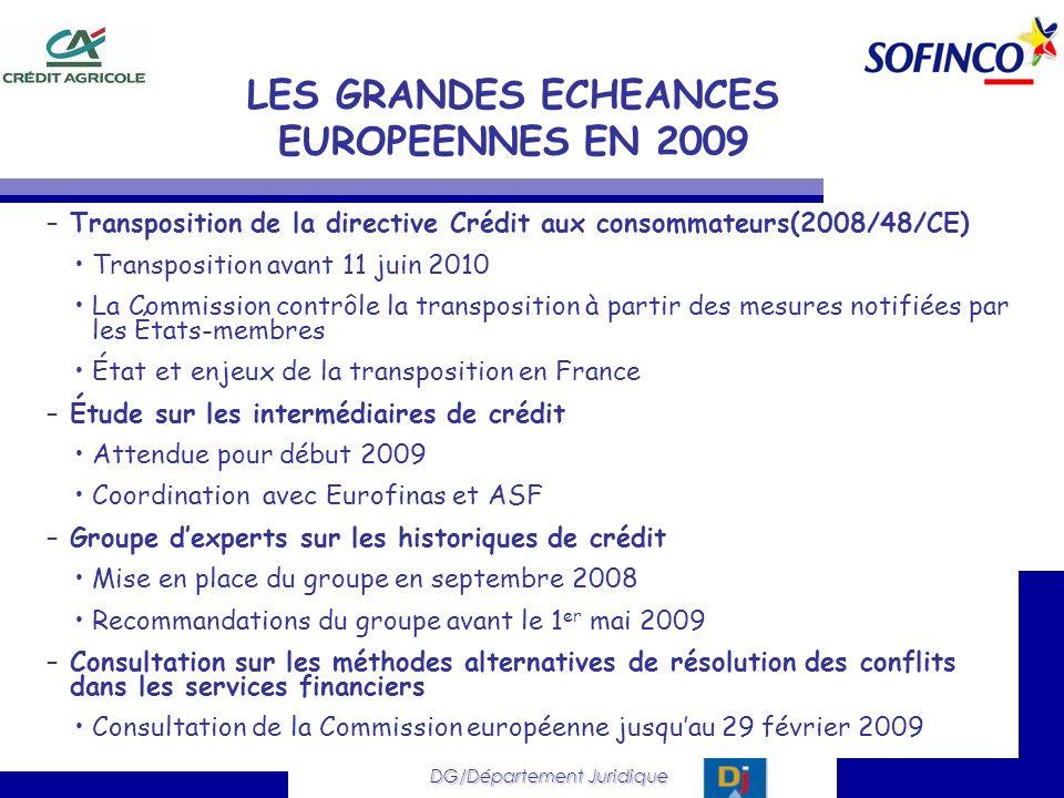 DG/Département Juridique –Transposition de la directive Crédit aux consommateurs(2008/48/CE) Transposition avant 11 juin 2010 La Commission contrôle l