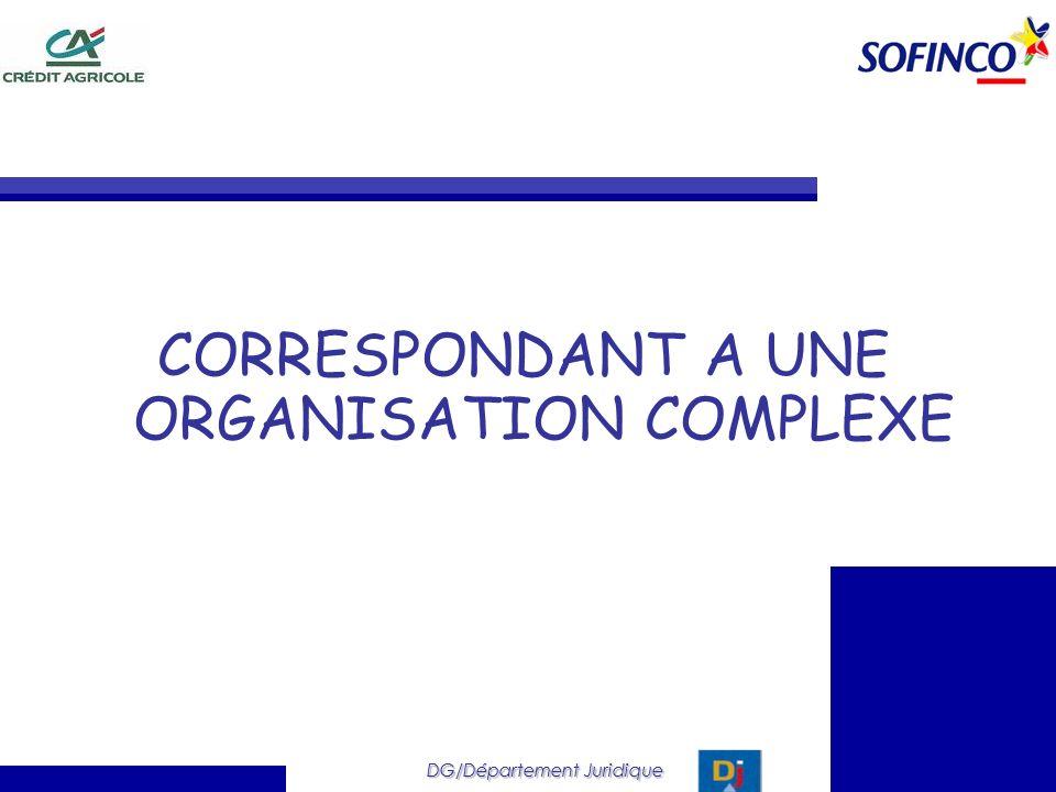 DG/Département Juridique CORRESPONDANT A UNE ORGANISATION COMPLEXE DG/Département Juridique