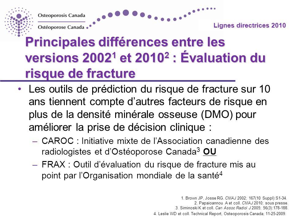 2010 Guidelines Lignes directrices 2010 Principales différences entre les versions 2002 1 et 2010 2 : Évaluation du risque de fracture Les outils de p