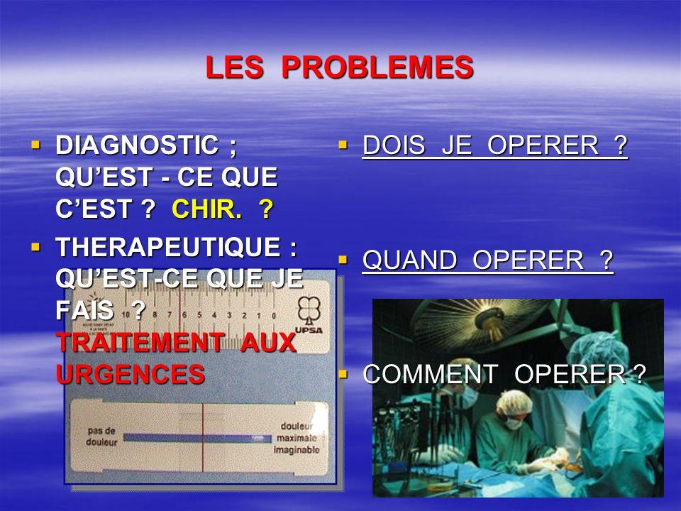 PAS DE PROBLEMES DIAGNOSTICS OPERATOIRES CERTAINS : DIAGNOSTICS OPERATOIRES CERTAINS : –PERITONITES –ETRANGLEMENTS HERNIAIRES IRREDUCTIBLES –PERFORATIONS –ANEVRYSMES AO.ABDO.