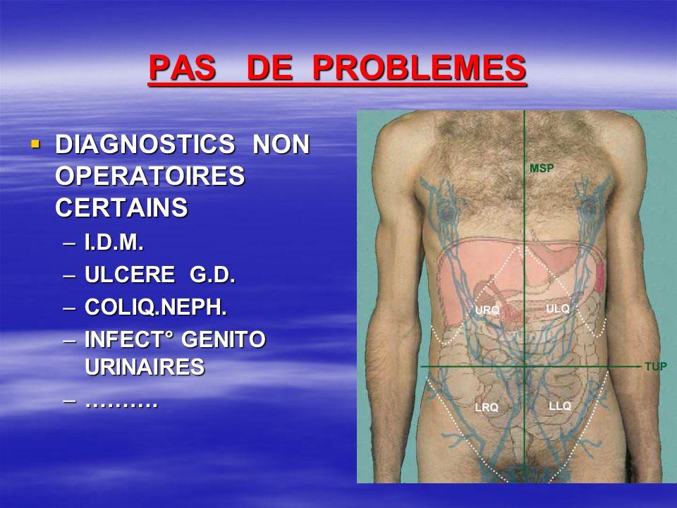 PAS DE PROBLEMES DIAGNOSTICS NON OPERATOIRES CERTAINS DIAGNOSTICS NON OPERATOIRES CERTAINS –I.D.M. –ULCERE G.D. –COLIQ.NEPH. –INFECT° GENITO URINAIRES