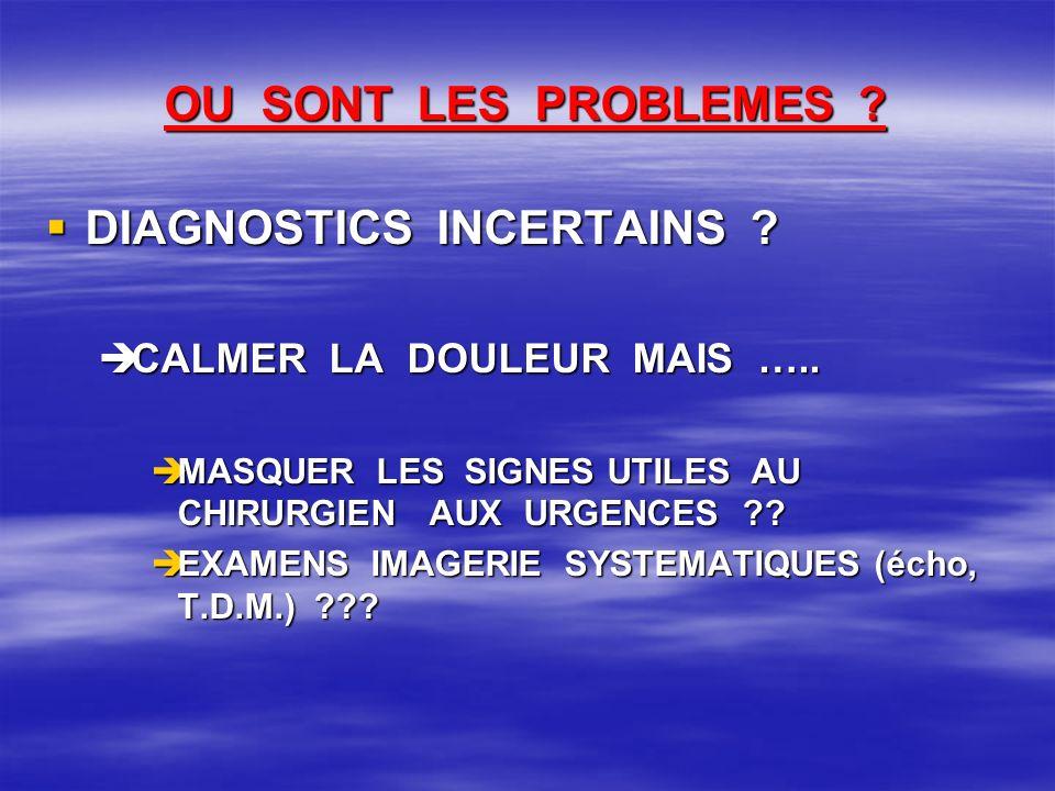 OU SONT LES PROBLEMES ? DIAGNOSTICS INCERTAINS ? DIAGNOSTICS INCERTAINS ? CALMER LA DOULEUR MAIS ….. CALMER LA DOULEUR MAIS ….. MASQUER LES SIGNES UTI