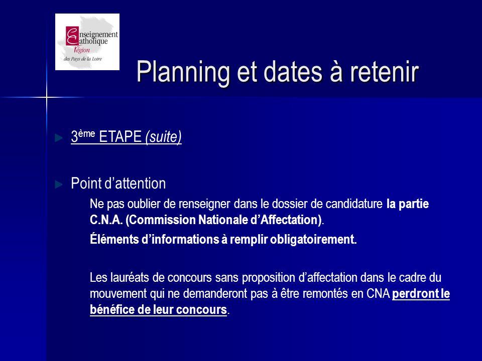 Planning et dates à retenir 3 ème ETAPE (suite) Point dattention Ne pas oublier de renseigner dans le dossier de candidature la partie C.N.A.