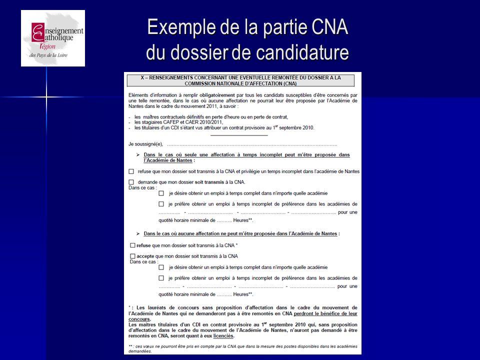 Exemple de la partie CNA du dossier de candidature