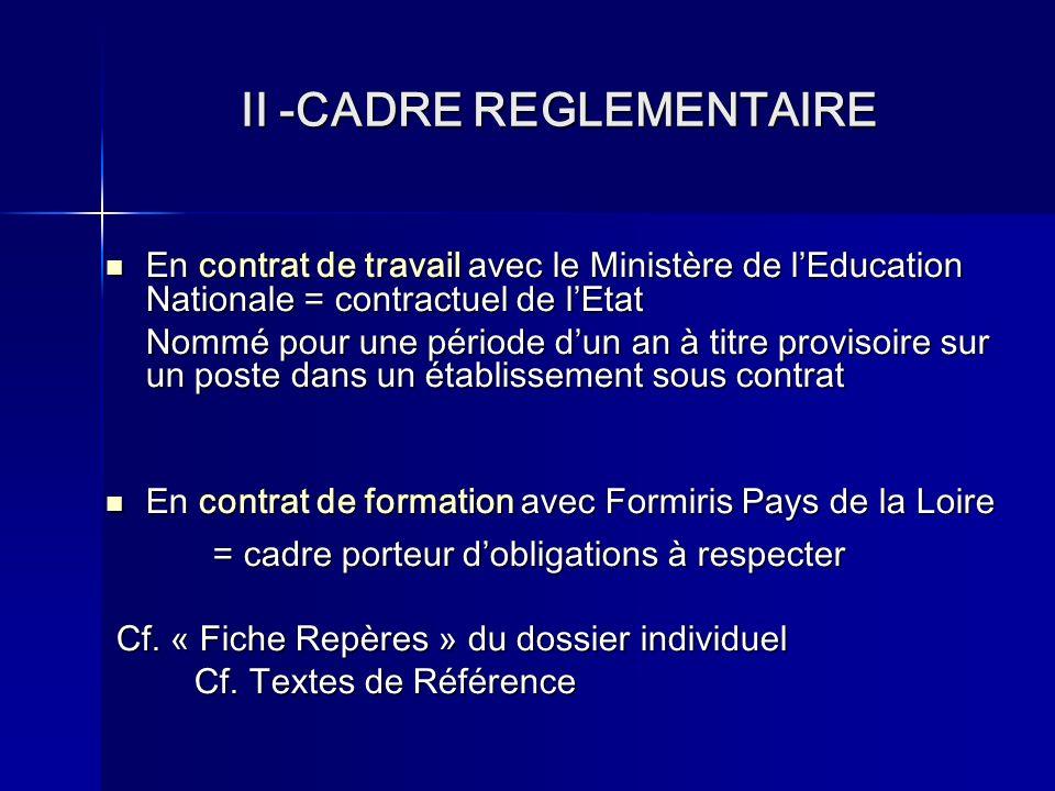 II -CADRE REGLEMENTAIRE En contrat de travail avec le Ministère de lEducation Nationale = contractuel de lEtat Nommé pour une période dun an à titre provisoire sur un poste dans un établissement sous contrat En contrat de formation avec Formiris Pays de la Loire = cadre porteur dobligations à respecter Cf.