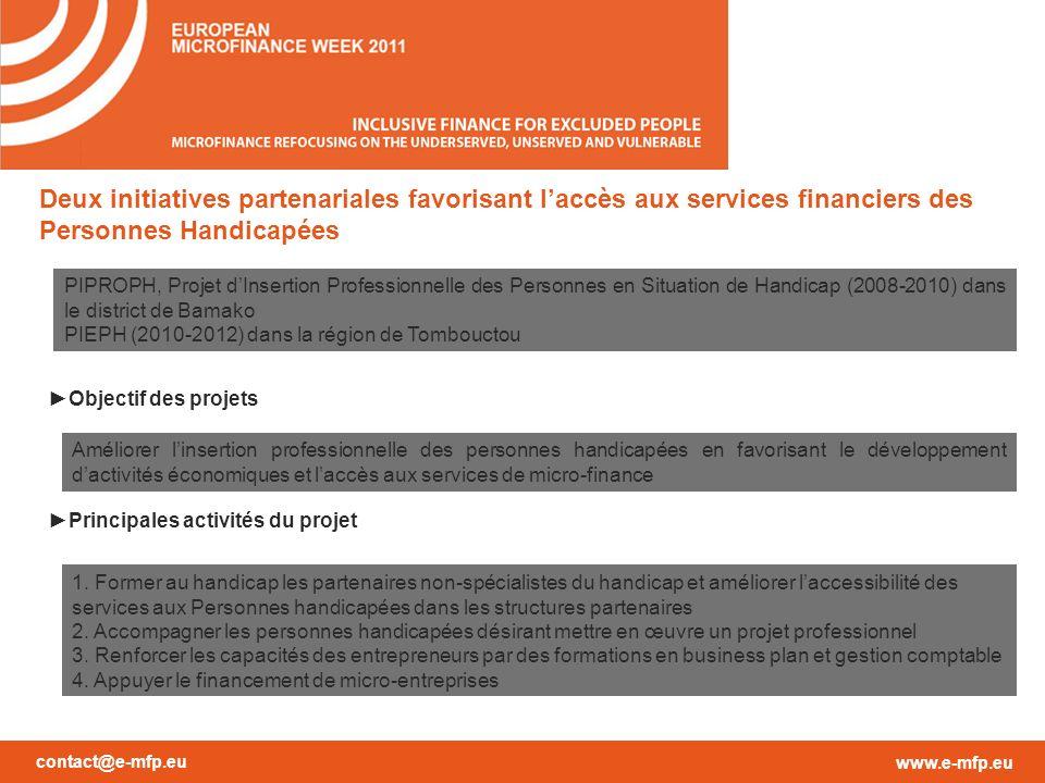 contact@e-mfp.eu www.e-mfp.eu Deux initiatives partenariales favorisant laccès aux services financiers des Personnes Handicapées Objectif des projets Principales activités du projet Améliorer linsertion professionnelle des personnes handicapées en favorisant le développement dactivités économiques et laccès aux services de micro-finance 1.