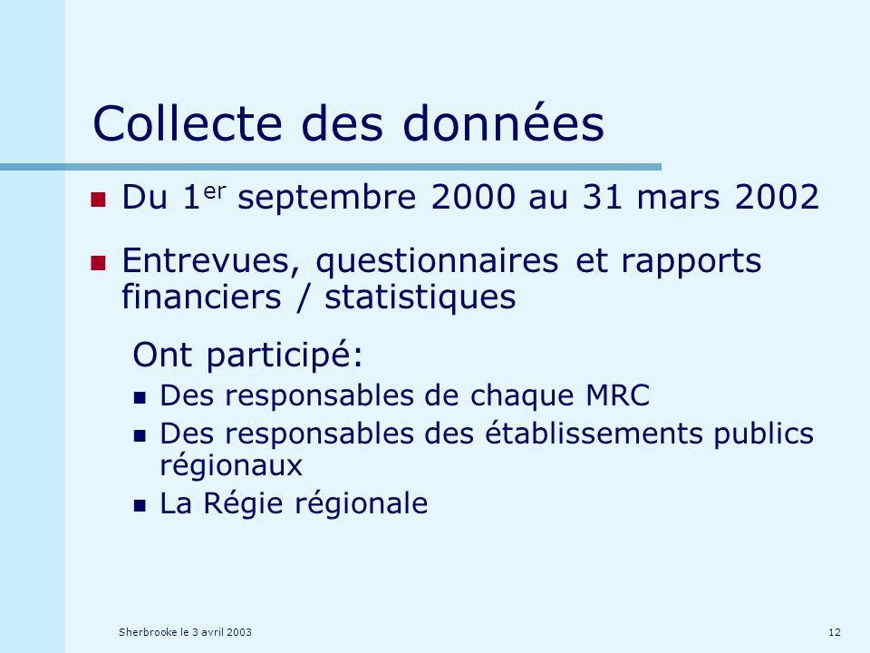 Sherbrooke le 3 avril 200312 Collecte des données Du 1 er septembre 2000 au 31 mars 2002 Entrevues, questionnaires et rapports financiers / statistiques Ont participé: Des responsables de chaque MRC Des responsables des établissements publics régionaux La Régie régionale
